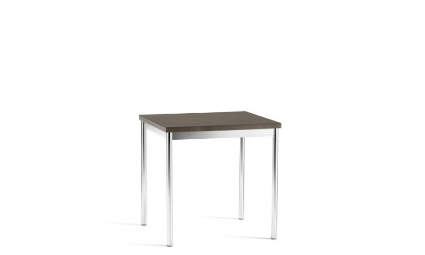 Cache Square Table Chrome Wood